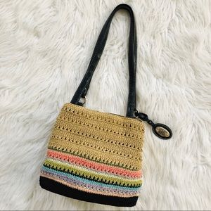 Rainbow striped satchel hobo purse